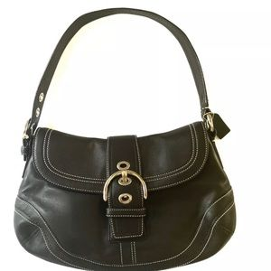 COACH LEATHER SOHO Flap Shoulder Handbag Hobo